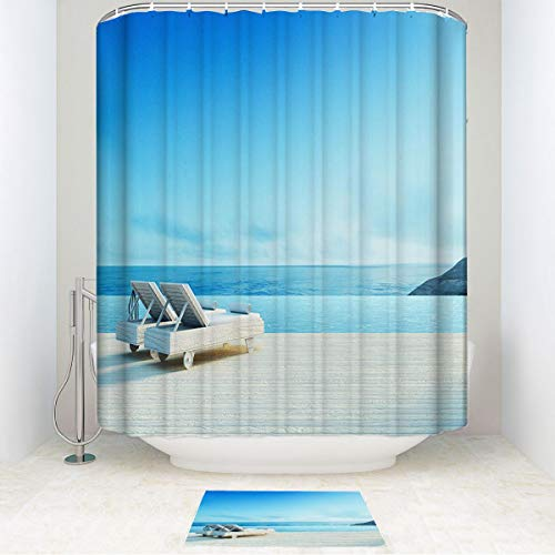 HooMore Family Bathroom Set, Beach Lounge Sundeck on Sea View, Waterproof Shower Curtain and Non-Slip Bathroom Rug 72WX87Lin/15.7X23.6in ()