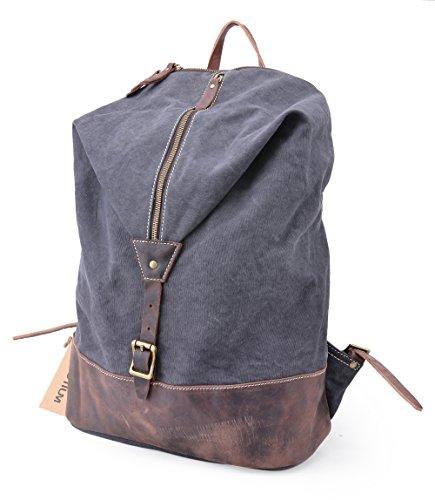 Gootium 51028 Vintage Canvas Notebook-Rucksack Backpack Unisex bis zu 14 Zoll - Grau
