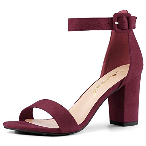 Allegra K Women's Chunky High Heel Ankle Strap Sandals (Size US 5.5) Burgundy -