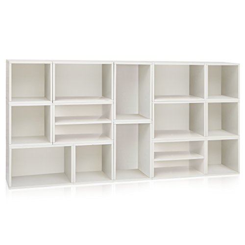 Way Basics Rome Storage Blox Eco Modular Bookcase Shelving, White (Tool-Free Assembly and Uniquely Crafted from Sustainable Non Toxic zBoard paperboard) (Bookcase Modular White)