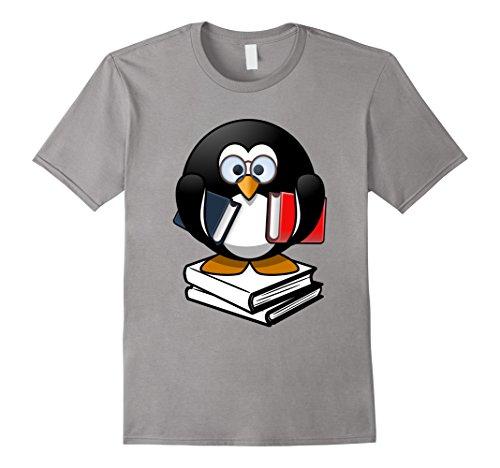 Men's Penguin Shirt Love Books Glasses Geek Funny Gifts T-Shirt Large Slate (Nerdy Girl Costume Ideas)