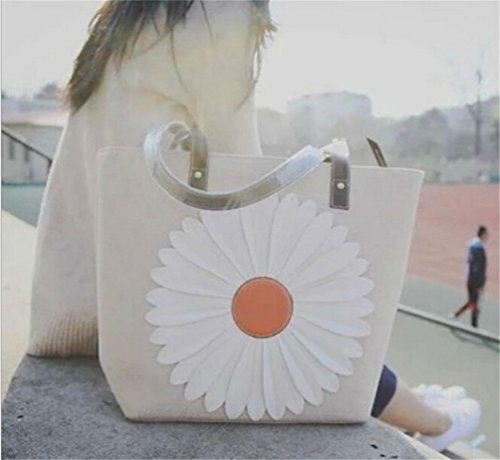 Strap Double Handbag Flower Grey Leather 100 Canvas Shopper Cotton Beach Santwo Tote 6xqwCIYvR