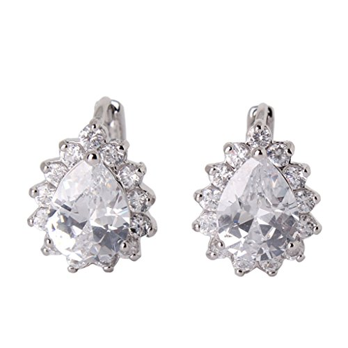 GULICX Silver Plated Base Pear Drop Cyrstal Cubic Zirconia Hoop leverback Party Earring Women