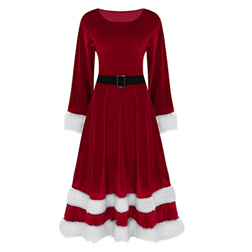 Womens Christmas Fancy Dress Outfits (ACSUSS Women's Ladies Santa Claus Costume Christmas Outfit Long Sleeve Midi Dress Red)