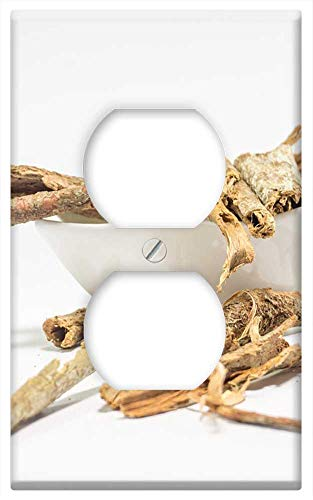 Switch Plate Outlet Cover - Dried Cassia Bark White Table Background Ayurveda 1
