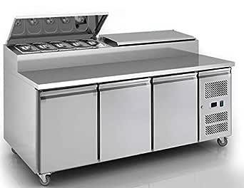 Comercial refrigerado de acero inoxidable 3 puertas Pizza Prep ...