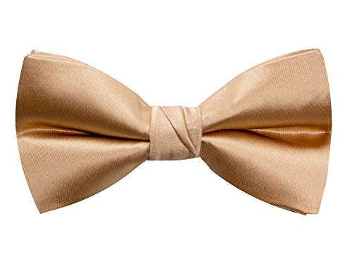 Spring Notion Men's Solid Color Satin Microfiber Bow Tie Antique Gold