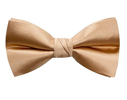 Spring Notion Men's Solid Color Satin Microfiber Bow Tie Antique Gold (Antique Tie Mens)