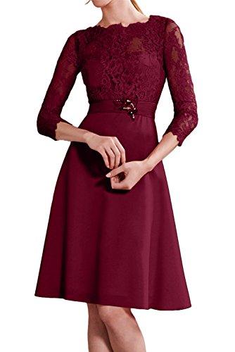 Damen Partykleider 3 Abendkleider KnieKurz Neu Rot Arm Ivydressing Rund Spitze mit 4 Weinrot Cocktailkleider TCRdXwqn