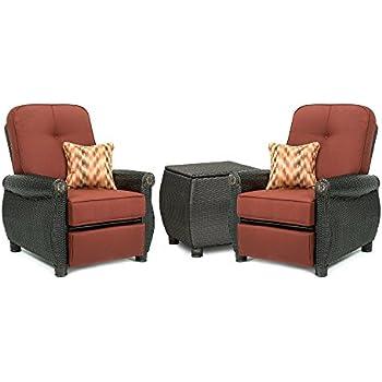 La Z Boy Outdoor Breckenridge 3 Piece Resin Wicker Patio Furniture Set  (Brick