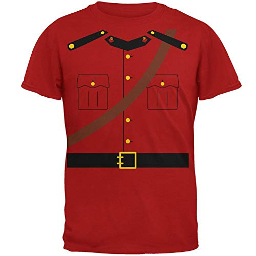 Mountie Halloween Costume (Halloween Canadian Mountie Police Costume Mens Soft T Shirt Red)