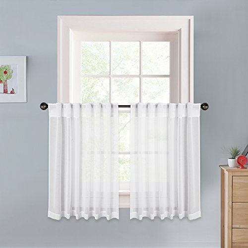 PONY DANCE Kitchen Sheer Curtains - Window Curtain Tier Valances High Thread Back Tab Rod Pocket Linen Look Voile Panels Gauze Drapes for Bathroom & Cafe, 55'' W x 36'' L, White, 2 PCs by PONY DANCE