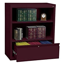 Sandusky Lee BD10361842-03 System Series Bookcase with File Drawer, Burgundy