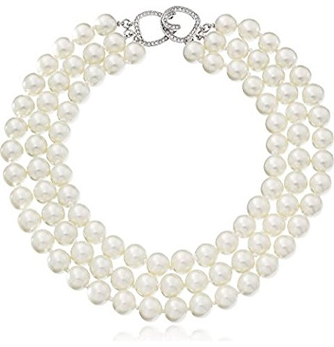 - HamptonGems Kenneth Jay Lane, Barbara Bush Necklace- 3 Row 12mm Light CULTURA Pearl Necklace. Lengths:16, 17, 18, 19, 20 Choose Gold OR Pave Crystal Clasp (Silver Pave Crystal Clasp, 16)