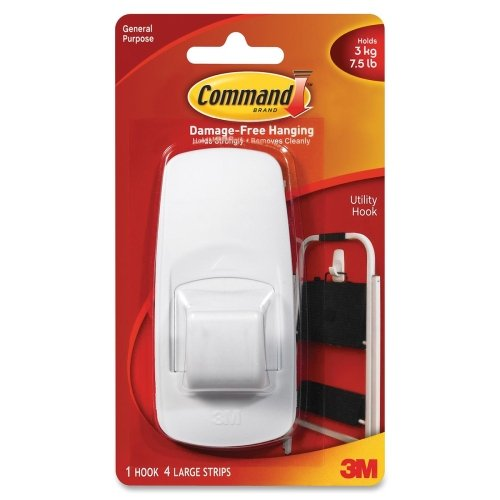 Command Jumbo Hook with Adhesive - 7.50 lb (3.40 kg) Capacity - White