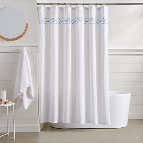 AmazonBasics Trellis Embroidered Shower Curtain - 72 Inch, Light Blue