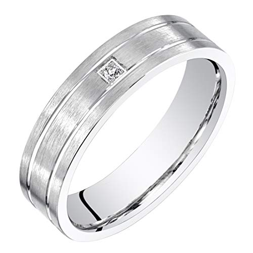 Mens 14K White Gold Genuine Diamond Wedding Ring Band 5mm Size 8