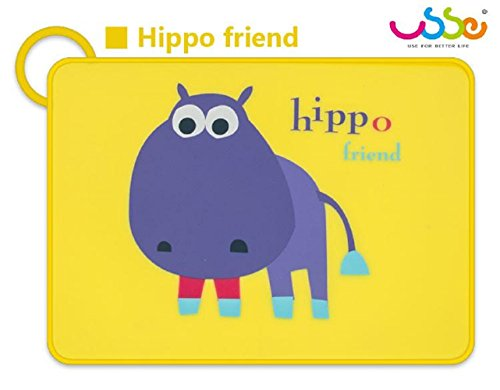 BIOSOMA Baby. Silicone Placemats, Nice 'n Cute Designs, Kids & Toddler Placemats, Safe 100% Food-Grade Silicone, Non-Slip Silicone & Easy to Roll and Loop It! with Anti-Spill Edge. Hippo