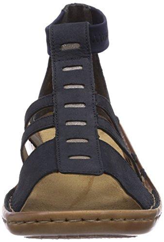 Rieker 6.08E+02 - Sandalias de vestir de cuero para mujer azul - Blau (pazifik/murmel/navy / 14)