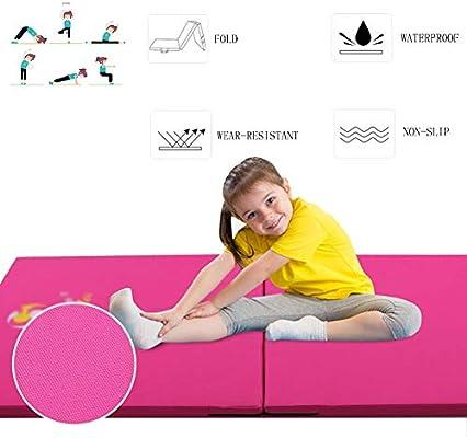 GUORRUI Colchoneta For Gimnasia Colchonetas De Yoga No Estática Tela Oxford Casa Cámping Esteras del Ejercicio Plegable Más Grueso Alto Buffering, 5 Tamaños (Color : Pink, Size : 50x100x5cm): Amazon.es: Hogar