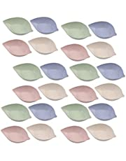 Hemoton 24pcs Dipping Sauce Dishes Leaves Shaped Soy Sauce Dipping Bowls Porcelain Condiment Sauce Dish for Candy Pastry Nuts Dried Fruit (Mixed Color)