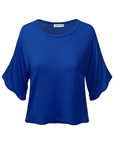 Doublju Women Stylish Basic Casual Active Basic Hot Item ROYALBLUE Crop Top ,Medium,M