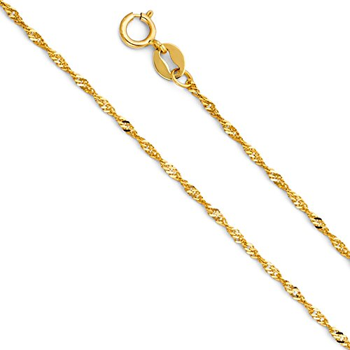 Wellingsale 14k Yellow Gold SOLID 1.2mm Polished Singapore Chain Necklace with Spring Ring Clasp - 18