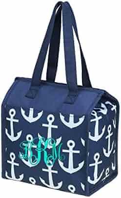 WEBSII Medium Anchor Pattern Lunch Bag (Navy)