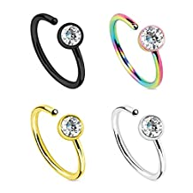 BodyJ4You Body Jewelry Piercing Nose Hoop Ring Stainless Steel 20G (8mm) Value Pack 4PC