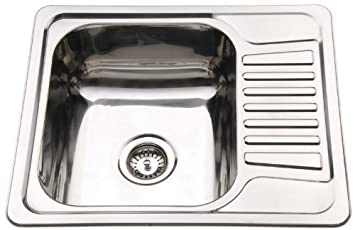 compact stainless steel inset kitchen sink bowl with drainer waste kit - Compact Kitchen Sink
