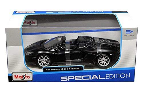 Maisto New 1:24 W/B Special Edition - Matte Black Lamborghini Aventador LP 700-4 Roadster Diecast Model Car