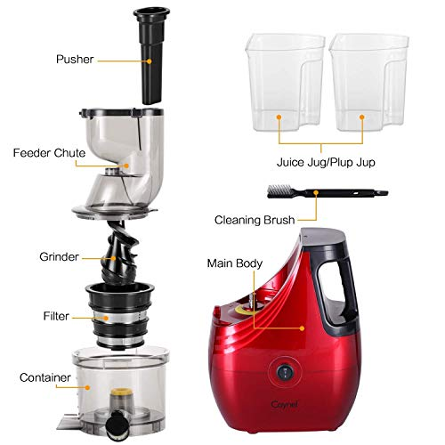 Slow Masticating Juicer Caynel Cold Press Extractor with 3'' Wide Chute for Fruits, Vegetables and Herbs, Quiet Durable Motor with Reverse Function, Smoothie Strainer Included, High Yield Vertical Juicer Easy Cleaning , BPA Free(Champagne) by CAYNEL (Image #7)