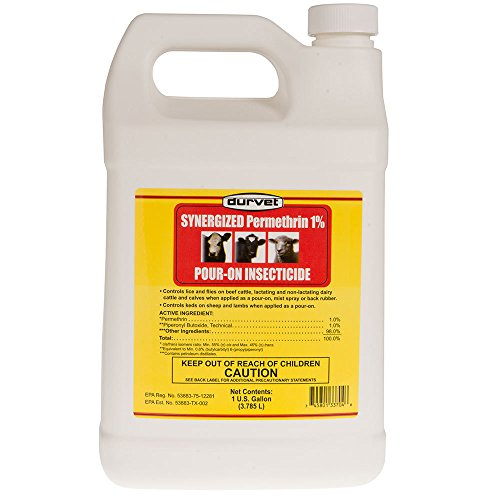 DURVET FLY 003-3704 053603 Synergized Permethrin 1% Pour-On Insecticide, 1 gallon Cattle Insecticides