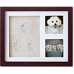 ImpressionMemories Dog or Cat Paw Print Pet Keepsake Photo Frame with Pet Paw Print Imprint Kit