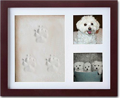 ImpressionMemories Dog or Cat Paw Print Pet Keepsake Photo Frame with Pet Paw Print Imprint ()