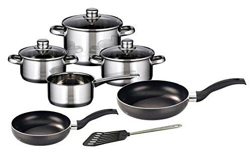 M+K by ELO Meine Küche 99822Skyline 10-Piece Cookware Set, Stainless Steel, Silver, 1x 1x 1cm, 10Units
