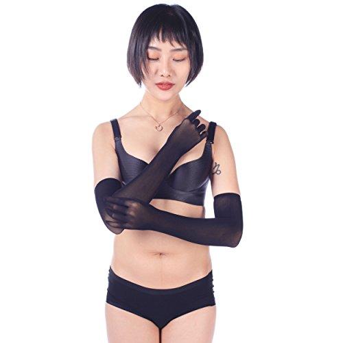 (ElsaYX Women's Sheer Seamless Pantyhose Long Nylon Wedding Finger Gloves Black One Size)