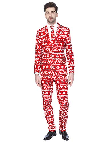 Suitmeister Christmas Suits for Men - Christmas Red Nordic - Ugly Xmas Sweater Costumes Include Jacket Pants & Tie - XXL (Suit Christmas Xxl Ugly)