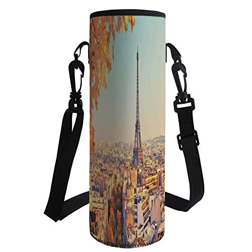 iPrint Water Bottle Sleeve Neoprene Bottle Cover,Eiffel Tower,Eiffel Tower at Sunset Paris France Autumn Leaves Sunlights Evening View Picture,Yellow,Fit for Most of Water Bottles by iPrint
