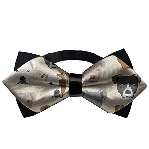 YEAHSPACE Men's Pitbull Heads BowTie Gift Pre-tie Party Teen Oufits ()