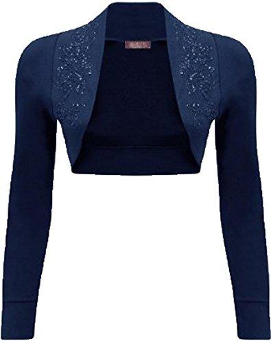 Mix lot nuevas señoras de moda de lujo de manga larga encogimiento de hombros de cuentas bolero superior diferentes colores más tamaño casual / fiesta de tamaño desgaste 36-42 Navy