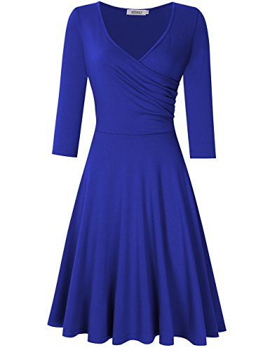 MISSKY V Neck Royal Blue Dresses for Women Slim Vintage Casual Cocktail Dresses for Women (S, Dark Blue Long -