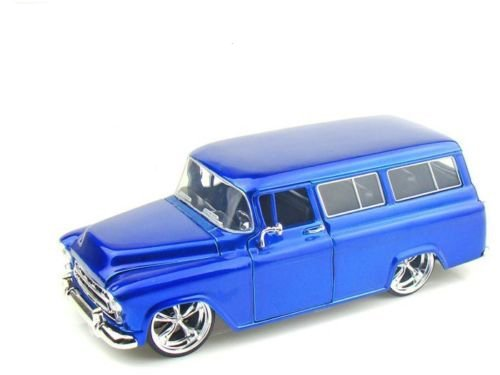 New 1:24 DISPLAY - Big Time Kustoms - BLUE 1957 CHEVY SUBURBAN Diecast Model Car By Jada Toys (Chevy Suburban Model compare prices)