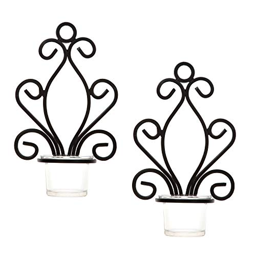 Hosley Set of 2 Iron Wall Sconce Tea Light Candle Sconces 7.68 Inches High Ideal Gift for Spa Settings Aromatherapy Wedding LED Votive Candle Gardens Hand Made by Artisans O3