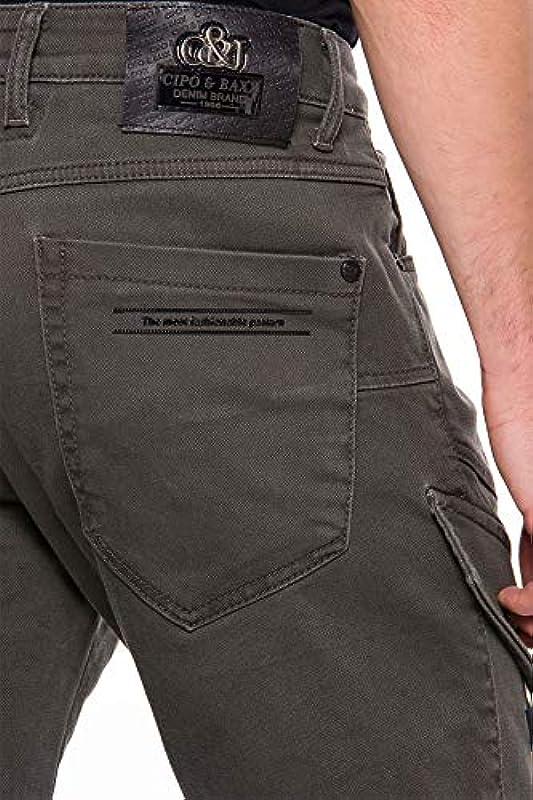 Cipo & Baxx męskie spodnie cargo Denim Regular Straight Fit dżinsy Design Khaki W 36 L34: Odzież