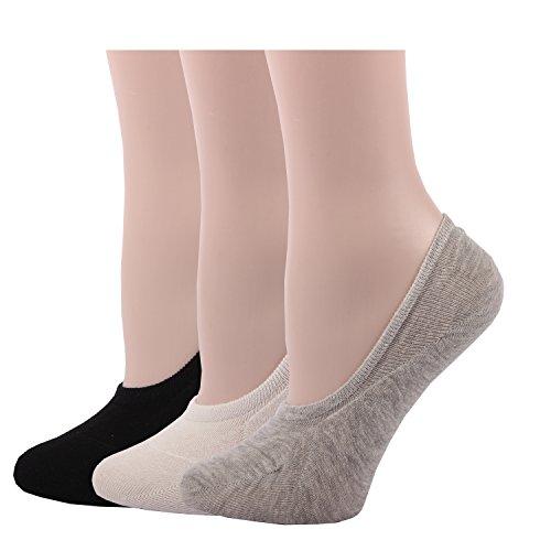 RioRiva Women Short Comfort No Show Low-Cut Liner Socks (3 Pack ) (Black White Gray