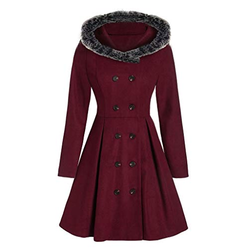 E-Scenery 2019 Womens Plush Cape Coat Fashion Plus Size Double Breasted Faux Fur Hooded Long Overcoat Red