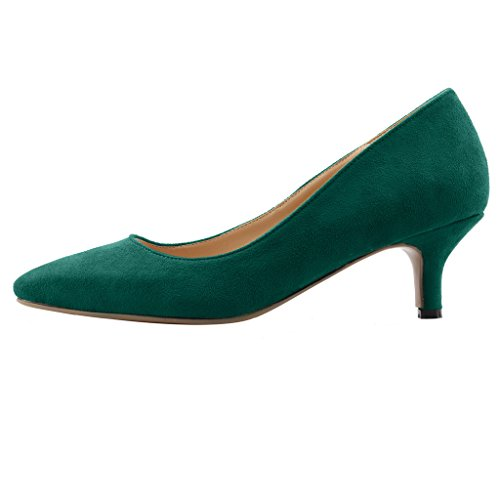Calaier Women Cahalfway Pointed-Toe 5.5CM Stiletto Slip-On Court Shoes Green B 51tDc3