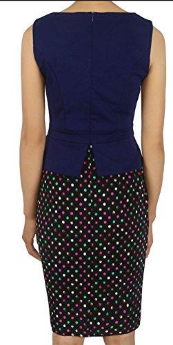 SunIfSnow - Vestido - ajustado - Lunares - Sin mangas - para mujer Multicoloured Dot