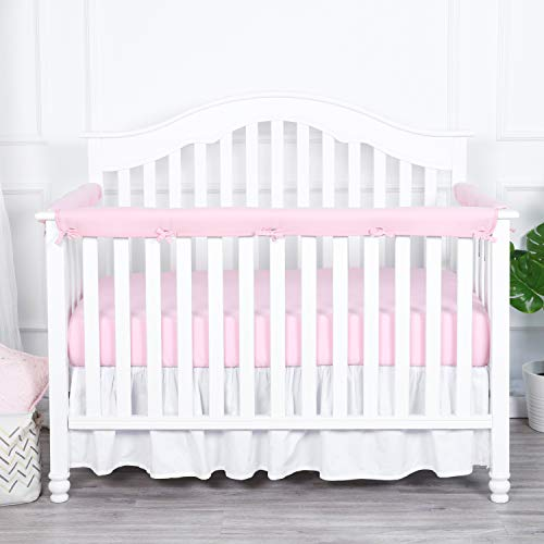 - TILLYOU 3-Piece Padded Baby Crib Rail Cover Protector Set from Chewing, Safe Teething Guard Wrap for Standard Cribs, 100% Silky Soft Microfiber Polyester, Fits Side and Front Rails, Pink